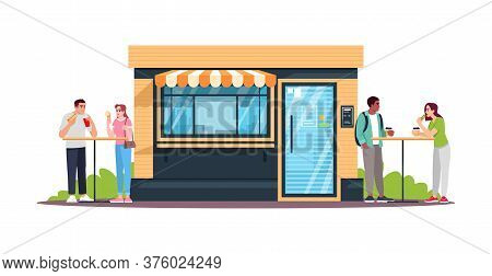 Couples Having Lunch At Snackbar Semi Flat Rgb Color Vector Illustration. People Eating In Public Pl