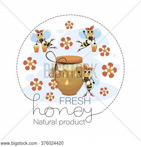 Honey. Bee Family. Swarm Bees. Vector Honey Label, Emblem. Funny Cartoon Characters For Poster