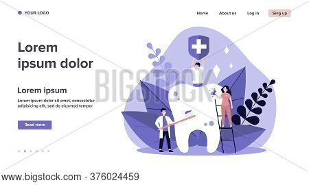 Tiny People Cleaning Big Tooth Flat Vector Illustration. Man Holding Banner With Medical Symbol. Doc