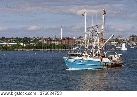 New Bedford, Massachusetts, Usa - July 11, 2020: Commercial Fishing Boat Relentless, Hailing Port Ha