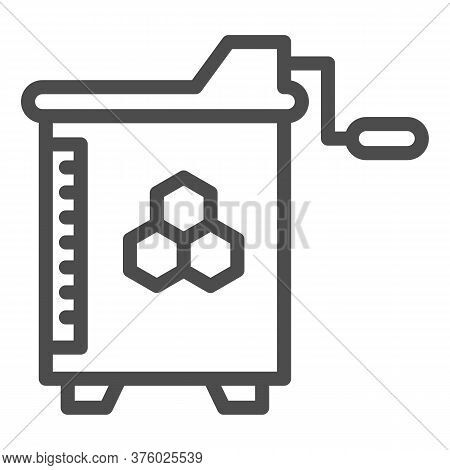 Honey And Wax Extractor Line Icon, Beekeeping Concept, Manual Honey Extractor Sign On White Backgrou