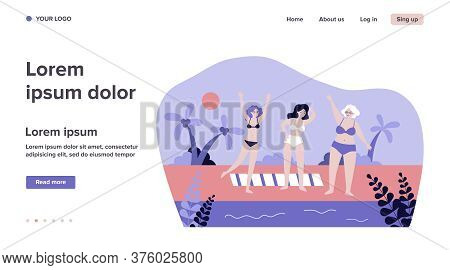 Senior Women Relaxing On Beach. Sea, Grandmother, Leisure Flat Vector Illustration. Lifestyle And Va