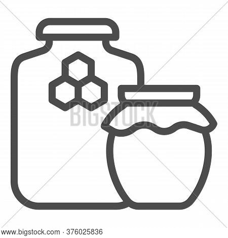 Jars Of Honey Line Icon, Beekeeping Concept, Natural Honey In Pots Sign On White Background, Two Hon