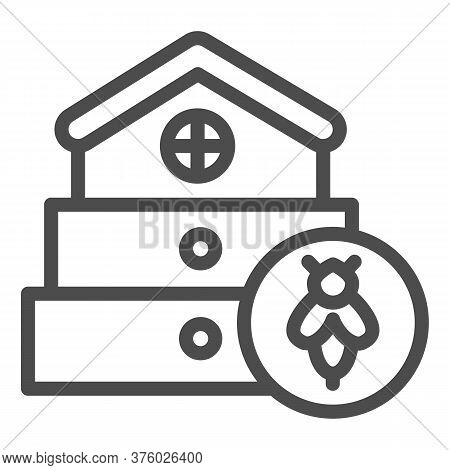 Bee Hive Line Icon, Beekeeping Concept, Beehive House Sign On White Background, Hive For Bees Icon I