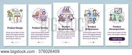 Product Lifecycle Onboarding Mobile App Page Screen With Concepts. Industrial Technology Production