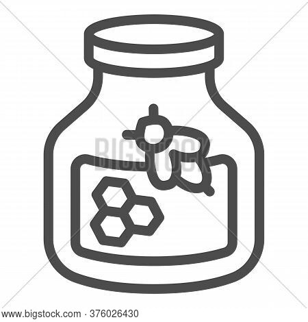Jar Of Honey And A Bee Line Icon, Beekeeping Concept, Natural Honey In Pot Sign On White Background,