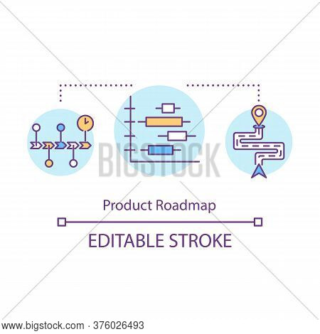 Product Roadmap Concept Icon. Direction Of Business Development. Financial Planning. Product Managem