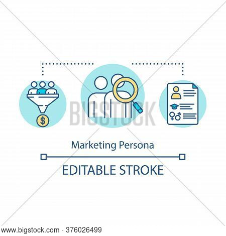 Marketing Persona Concept Icon. Target Audience Representation. Commercial Research. Product Managem