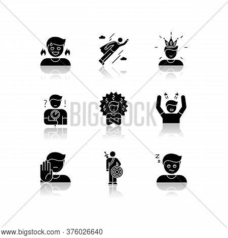 Human Emotions Drop Shadow Black Glyph Icons Set. Different Psychological States And Negative Emotio