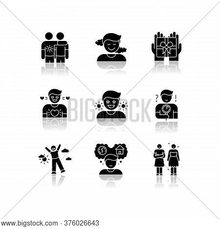 Feelings And Emotions Drop Shadow Black Glyph Icons Set. Various Emotional Reactions, Human Psycholo