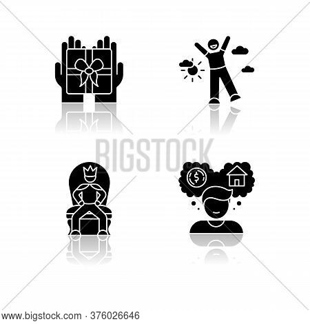 Emotions And Personality Traits Drop Shadow Black Glyph Icons Set. Human Feelings, Good And Bad Qual