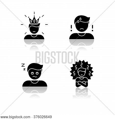 Negative Feelings And Bad Traits Drop Shadow Black Glyph Icons Set. Human Emotions, Personal Feeling
