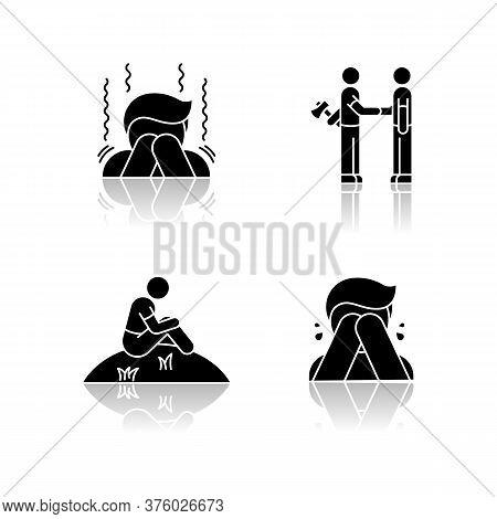 Negative Emotions And Bad Feelings Drop Shadow Black Glyph Icons Set. Human Behaviour, Psychological