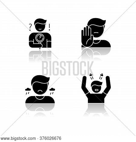 Mood And Temperament Drop Shadow Black Glyph Icons Set. Good And Bad Emotions, Different Human Feeli