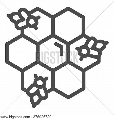 Honeycomb With Bees Line Icon, Honey Concept, Honey Bees In Honeycomb Sign On White Background, Bee