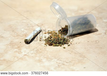 Marijuana. Dry and trimmed cannabis bud stored in a Plastic Bottle. Medical cannabis. Cannabis Sativa. Cannabis Indica.