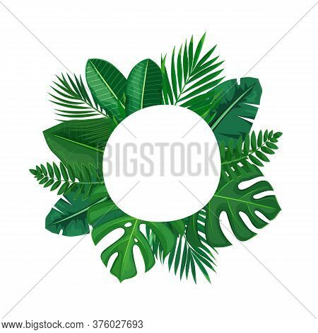 Green Tropical Leaves Circle Frame. Jungle Exotic Leaf Cut Round Poster With Areca Palm Leaves And R