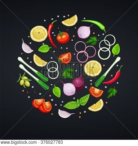 , Herbs And Vegetables For Design Recipes. Lemon, Lime, Onion And Pepper. Basil, Spinach And Cilantr