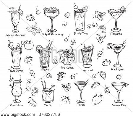 Set Of Tropical Cocklails. Summer Alcoholic Drinks. Engraving Holiday And Beach Party Vector Illustr