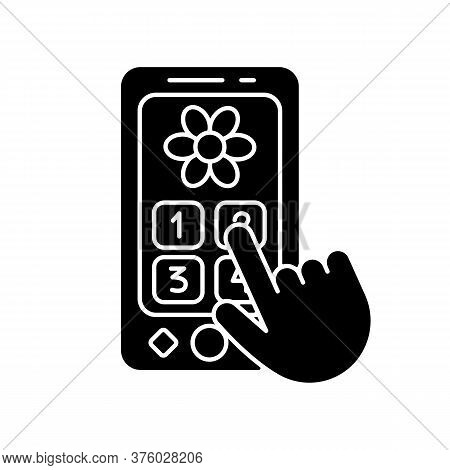 Playphone Black Glyph Icon. Pretend Telephone For Toddlers. Interactive Toy Phone For Children. Lang