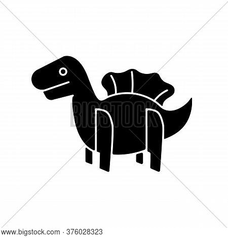 Dinosaur 3d Puzzle Toy Black Glyph Icon. Dino Toy For Toddlers. Educational Games Playing Figure. Im