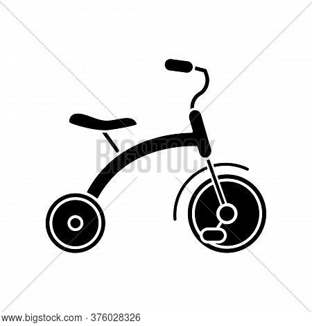 Tricycle Black Glyph Icon. Trikes For Toddlers. Children Ride On Equipment. Kids Coordination And Ba