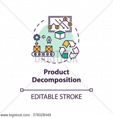 Product Decomposition Concept Icon. Merchandise Lifecycle. Sorting Machinery. Product Management Ide