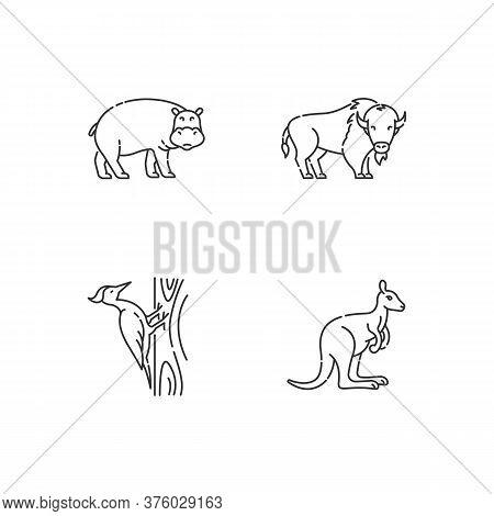 Various Animals Pixel Perfect Linear Icons Set. Customizable Thin Line Contour Symbols. Hippopotamus