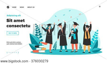 Happy Graduated Students Flat Vector Illustration. Cartoon Girls And Guys Celebrating Academic Diplo