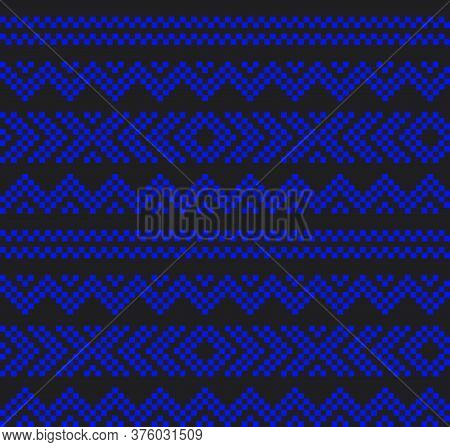 Blue Christmas Fair Isle Seamless Pattern Background
