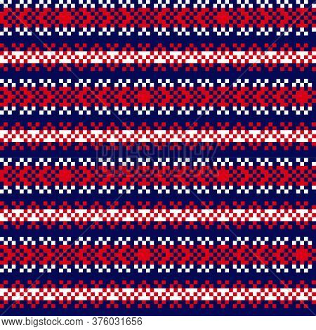 Red Navy Christmas Fair Isle Seamless Pattern Background