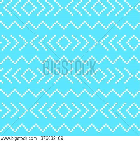 Sky Blue Christmas Fair Isle Seamless Pattern Background