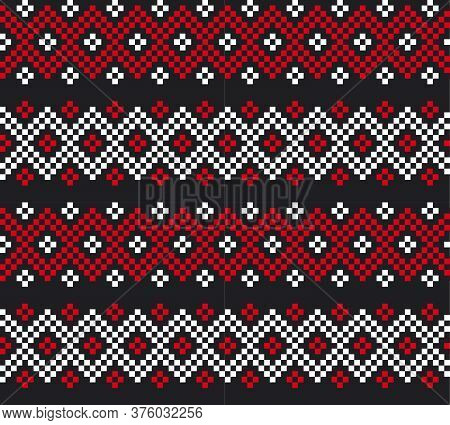 Red Christmas Fair Isle Seamless Pattern Background