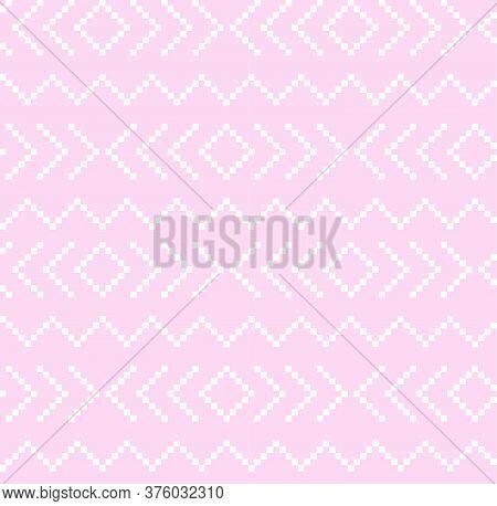 Pink Christmas Fair Isle Seamless Pattern Background