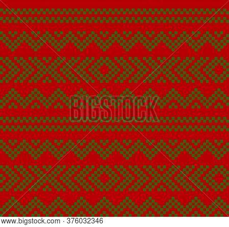 Christmas Fair Isle Seamless Pattern Background
