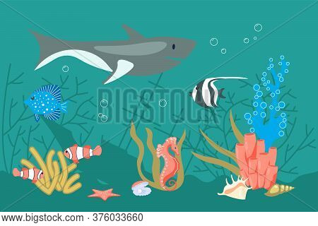 Underwater Scene With Wreck, Shark And Corrals On Aquamarine Background. Undersea Fauna Of Tropics,