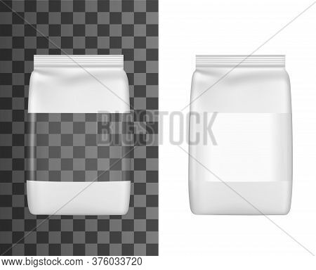 Package With Window For Groats, Grain Cereal Or Pasta, Realistic Plastic Bag Package, Vector Doypack