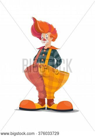 Clown, Big Top Circus Shapito Clown, Funfair Carnival Vector Isolated Cartoon Character. Retro Big T