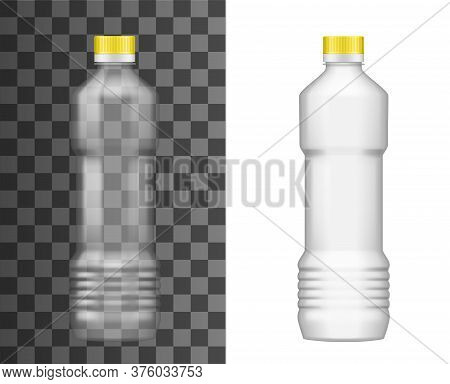 Plastic Bottle, Oil Package, Realistic Empty Mockup Template, Vector 3d. Sunflower, Olive Or Corn Oi