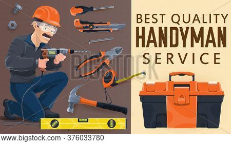 Handyman Or Repairman, Home Repair Service Worker With Toolbox, Construction Works, Vector. Carpente
