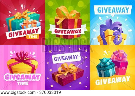 Giveaway Gifts, Competition Winner Prize, Vector Contest Banner Design. Giveaway Free Prize, Present