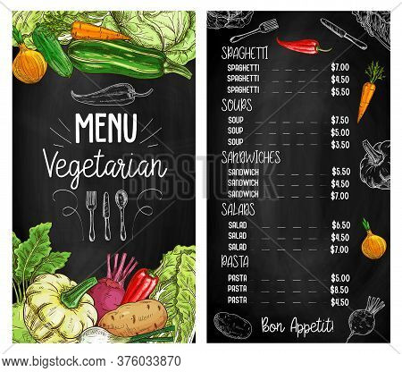 Vegetable Salads Chalkboard Sketch Menu, Vegetarian Food Restaurant, Vector. Organic Vegan Cafe Menu