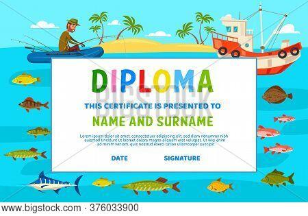 Kids Diploma, Education School Or Kindergarten Certificate, Vector Template. Graduation Diploma Cert