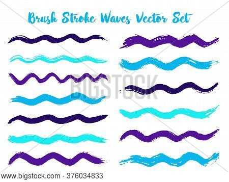 Hipster Brush Stroke Waves Vector Set. Hand Drawn Cyan Violet Brushstrokes, Ink Splashes, Watercolor