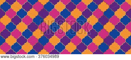 Persian Mosque Window Motif. Ramadan Kareem Islamic Illustration. Seamless Moroccan Texture Eid Muba
