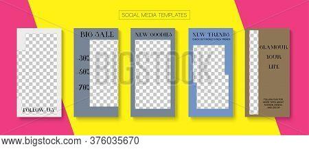 Modern Stories Vector Background. Minimal Sale, New Arrivals Story Layout. Online Shop Polygon Invit