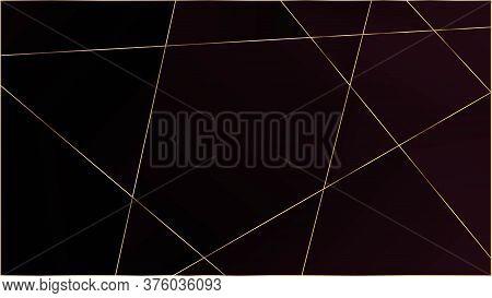 Red Luxury Triangular Pattern. Elegant Dark Platinum Chic Shapes Frame Gold Lines Polygon Premium Po