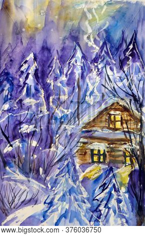 Snow-covered Village House With Light In The Windows At Sunset In The Winter Snow Forest, Christmas