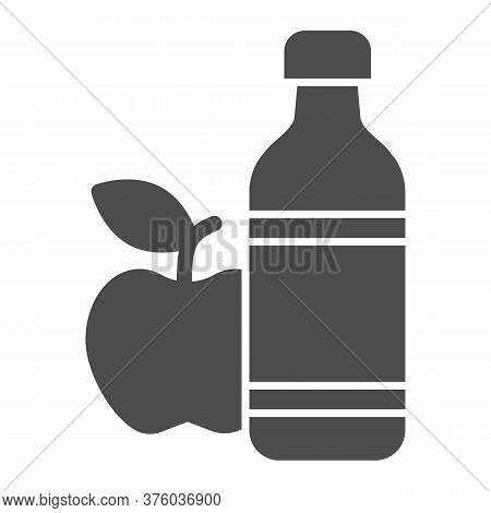 Apple And Mineral Water Solid Icon, Healthy Lifestyle Concept, Bottle Of Water And Fruit Sign On Whi