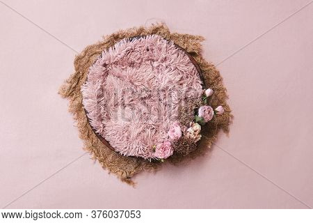 Newborn Digital Background - Wooden Bowl With Pink Faux Fur On Jute Layer,  Pink Backdrop And Pink P